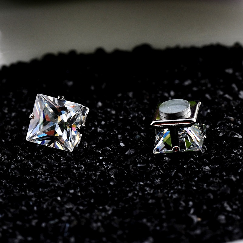 No Piercing 4/5/6/7/8mm Square Zircon Magnetic Stud Earings For Women Men Kids No Hole Crystal Ear Studs Jewelry Magnet Earring ...