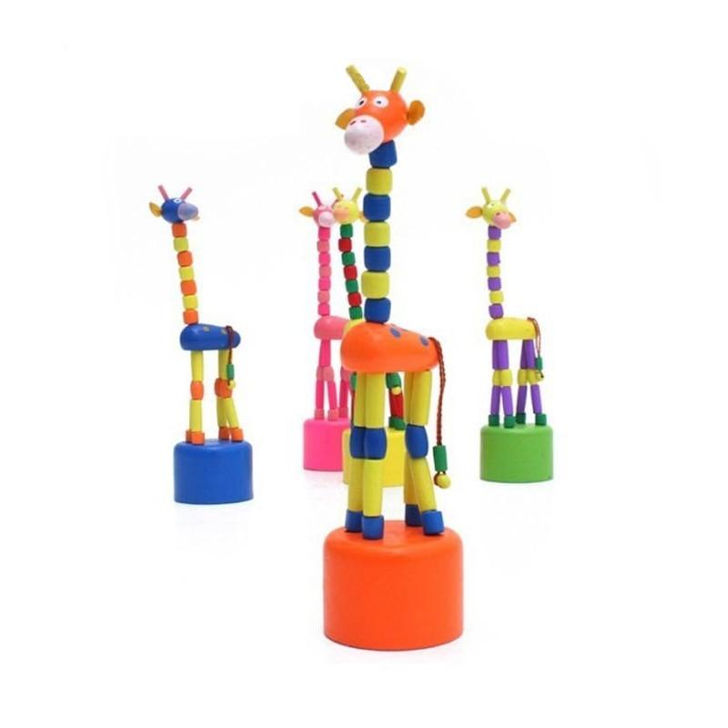 2016 новий дитина розвиваються танці стоячи хитання жирафа милий весна дерев'яні іграшки Baby граблі іграшки
