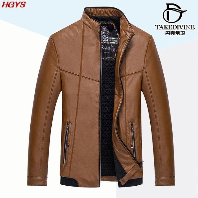 HGYS новые 2017 мужская кожаная досуг ПУ кожаная куртка Добавить больше хлопка пальто воспитать в себе мораль