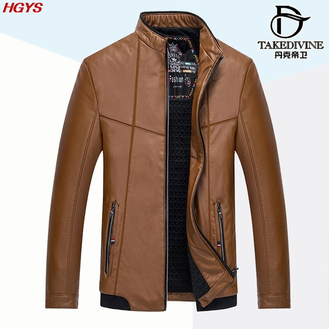 HGYS The new 2017 men leather leisure PU leather jacket Add more cotton coat of cultivate one's morality