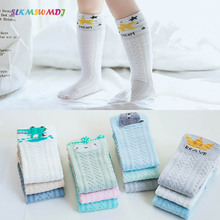 SLKMSWMDJ 3 Pairs New Spring Summer Mesh Thin Cotton Baby Stockings Breathable Cartoon Children For 0-3 Years Old