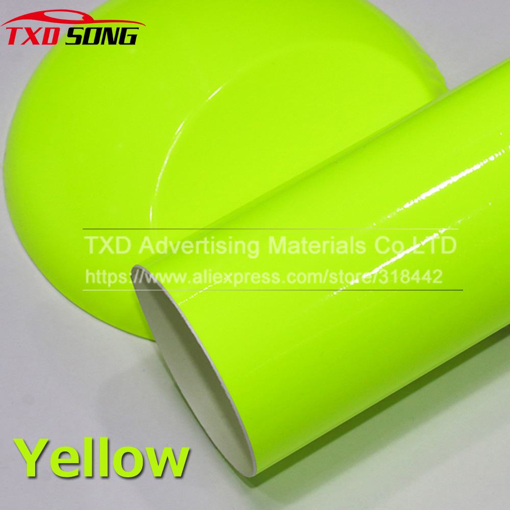 10 20 30 40 50 60x152CM Fluorescent yellow glossy vinyl wrap film Glossy Vinyl sticker with air free bubbles by free shipping