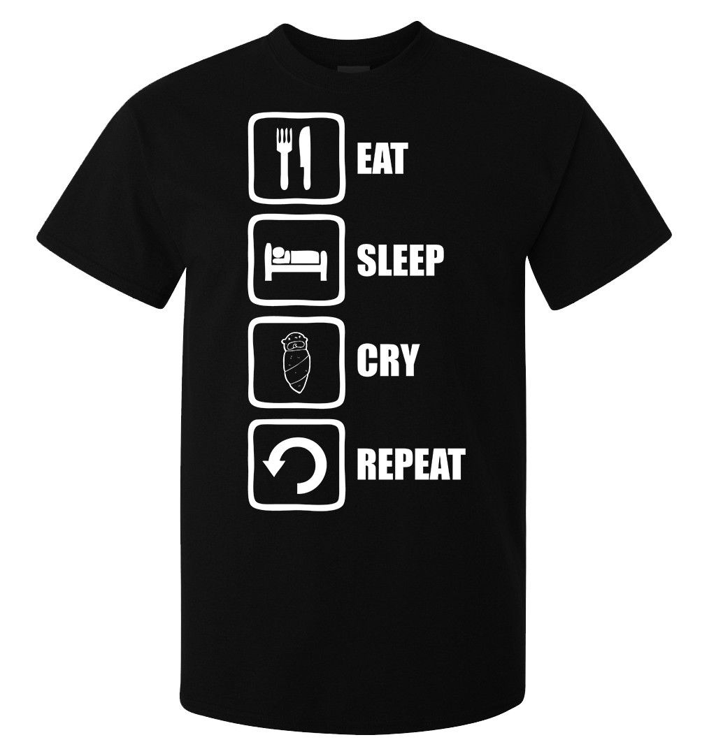 Eat sleep cry repeat crying baby styled mens (womans available) t shirt black