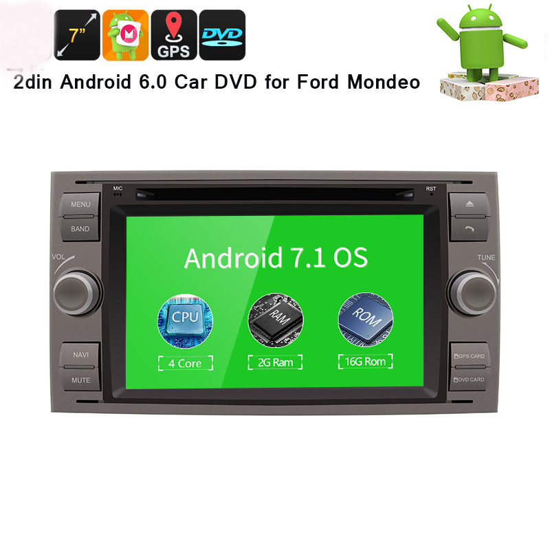 7 в тире 2 din Android 7,1 dvd плеер автомобиля gps стерео OBD2 для Ford C Max fiesta Fusion Kuga Mondeo Фокус с радио