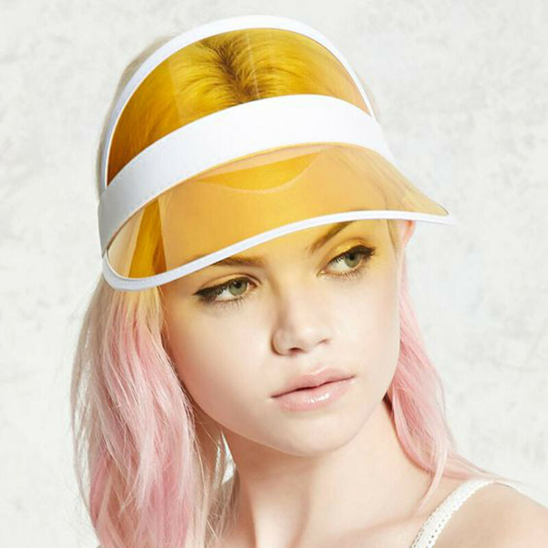 Summer PVC Sun Hats New Soild Color Unisex Visors Clear Plastic Casual Hats Adults Simple Sunscreen Caps Outdoor Fashionable Hot