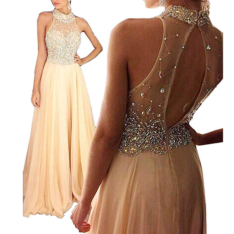 U-SWEAR Sexy Halter Sleeveless Backless Lace Crystal Beading Long A-Line   Evening     Dresses   Party Prom Formal Gowns Robe De Soiree