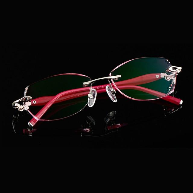 Модный Бренд женская Оправы для очков Без Оправы Резки Lenes с Алмазными Украшениями Очки Кадров YS-58131 3 Цвет Красный Фиолетовый