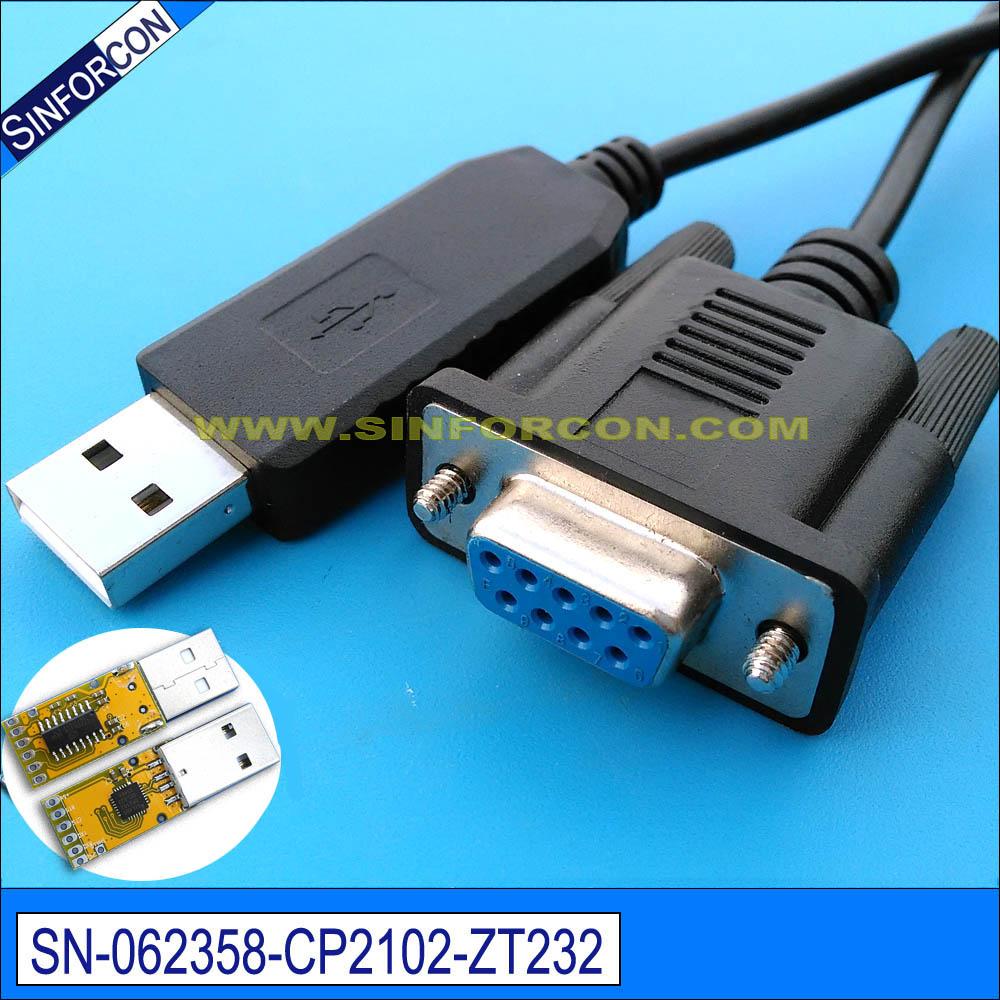 Prix pour Win7 8 10 Android Mac Silicon labs cp2102 usb série rs232 à DB9 femelle série rs232 null modem câble