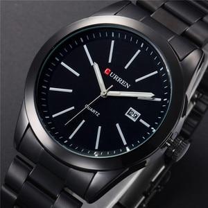Image 1 - CURREN New Fashion Men Watches Full Steel Wristwatch Classic Business Male Clock Casual Military Quartz Calendar Watch Reloj