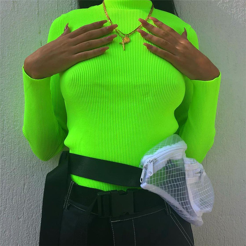 NCLAGEN 2018 New Women Turtleneck Ribbed Sweaters Long Sleeve Fluorescent Color Pullovers Slim Solid Color Mujer Warm Sweater