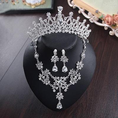 Bride Diaries New Design Crystal Pearl Bride 3pcs Set Necklace Earrings Tiara Bridal Wedding Jewelry Set Accessories (14)