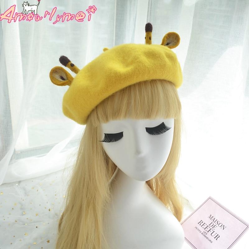30d15c25d2014 Japanese Style Mori Girl Lolita Kawaii Cartoon Giraffe Beret Cap Boina  Feminino For Women Winter Woolen Warm Beret Hat-in Berets from Apparel  Accessories on ...