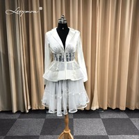 Leeymon Custom Made Sexy Long Sleeves Cocktail Dress Elegant lace Two Pieces Cocktail dress for Formal Party Dress