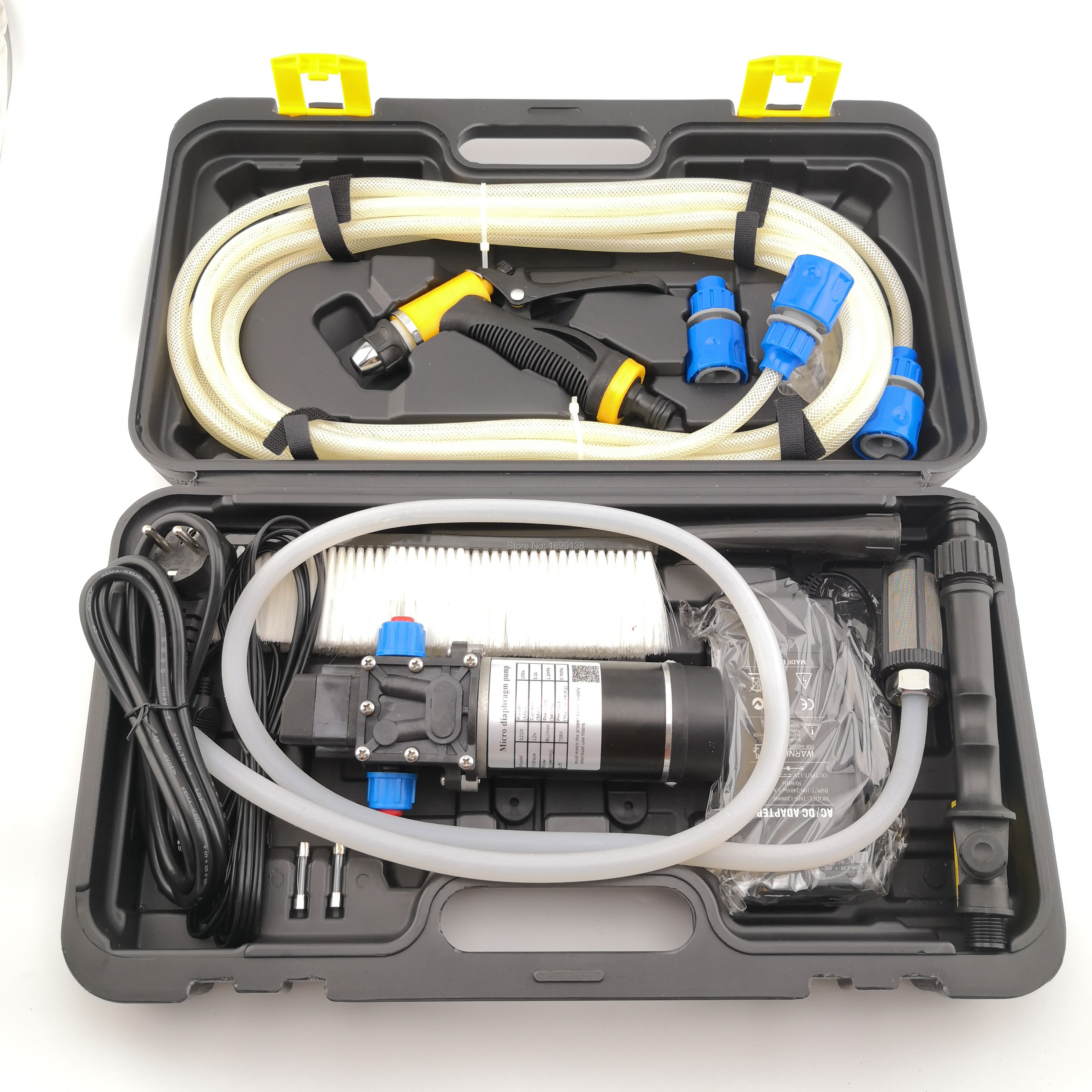 automatic pressure control 100w electric portable car wash 12v high pressure tool kit with 2 adapters