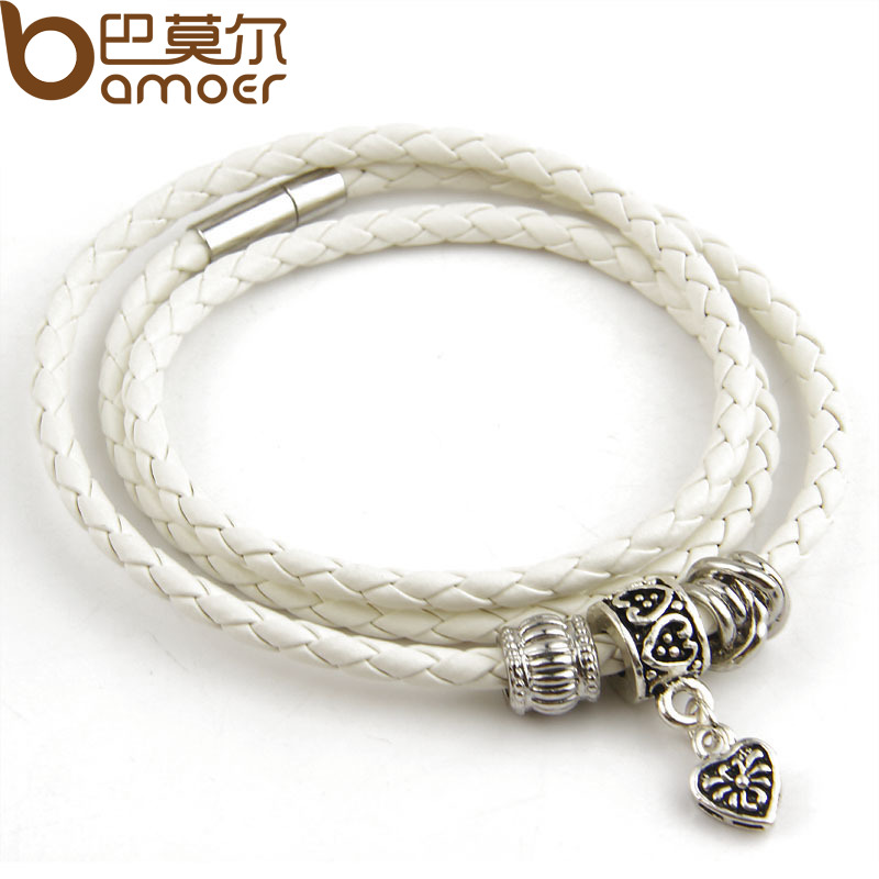 Leather Wrap Charm Bracelet: Silver Charm Black Leather Wrap Bracelet For Women Five