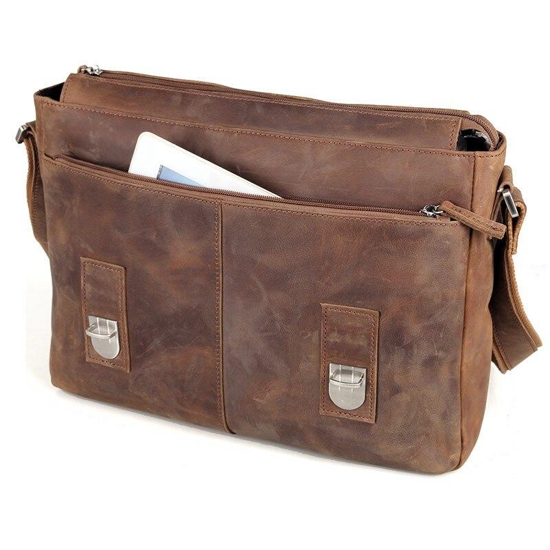 Vintage Messenger Bag Crazy Horse Leather Men Shoulder Bag Crossbody Bag Mens Genuine Leather Bag male Leisure Cowhide 2120 15%