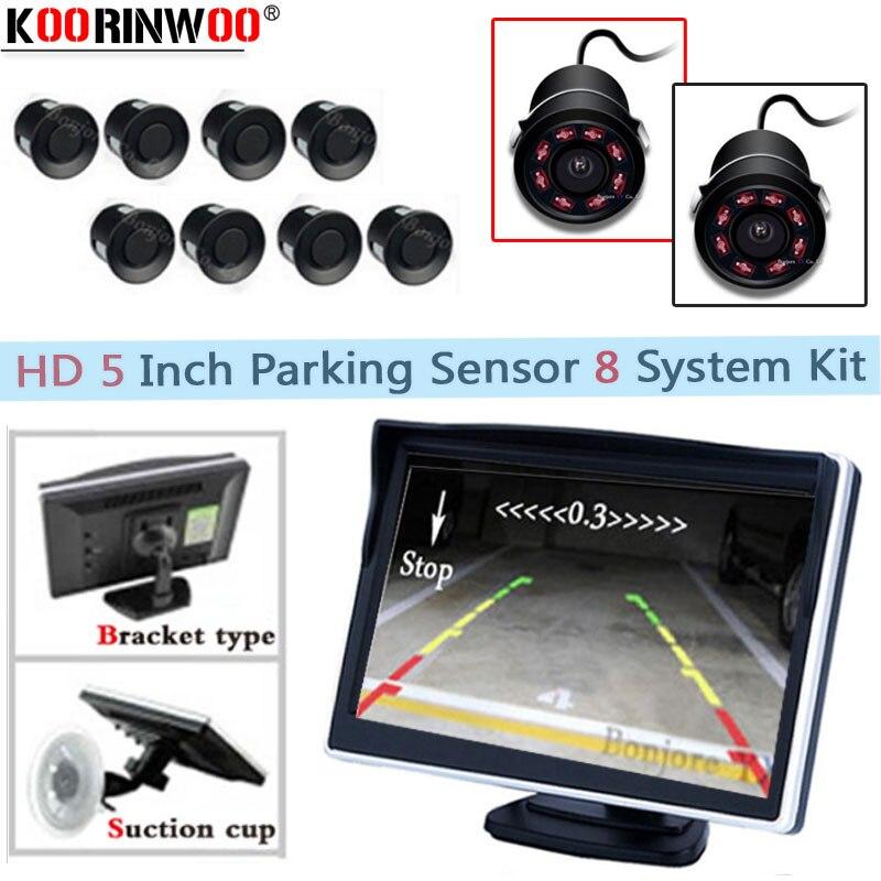Koorinwoo Parktonic Véhicule Moniteur Miroir Vidéo Système 22mm Voiture Parking Capteurs 8 Sonde Arrière vue caméra Avant Cercle Noir 8IR