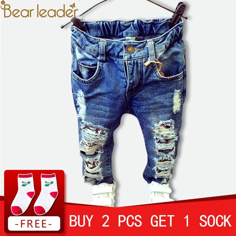 Chef ours Enfants Cassé Trou Pantalon Pantalon 2018 Bébé Garçons Filles Jeans Marque Mode Automne 2-7Y Enfants Pantalon Vêtements