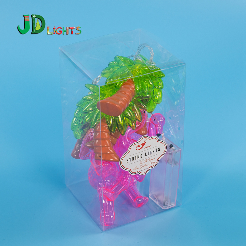 Palm tree and pink flamingo string light fairy lights Party garlands ...