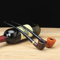 Classic New Bee Master Class Bruyere Bent Type Food grade Plastic Mouthpiece Smoking Pipe Wooden Tobacco Pipe PW 60