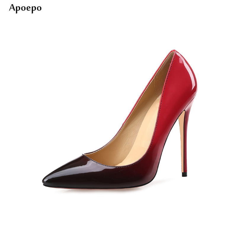 New Gradient Pu Leather High Heel Shoes 2018 Sexy Pointed Toe Stiletto Heels Slip-on High Heels for Woman Thin Heels Shoes trendy thin heel pointed toe women polka dot pump spring slip on high heels black white stiletto 2018 brand fetish factory shoes
