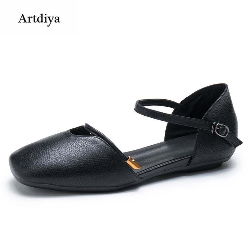 цена Artdiya 2018 New Square Toe White Shoes Genuine Leather Sandals Low Heels Handmade Simple Women Shoes Black Shoes T18601-2 онлайн в 2017 году