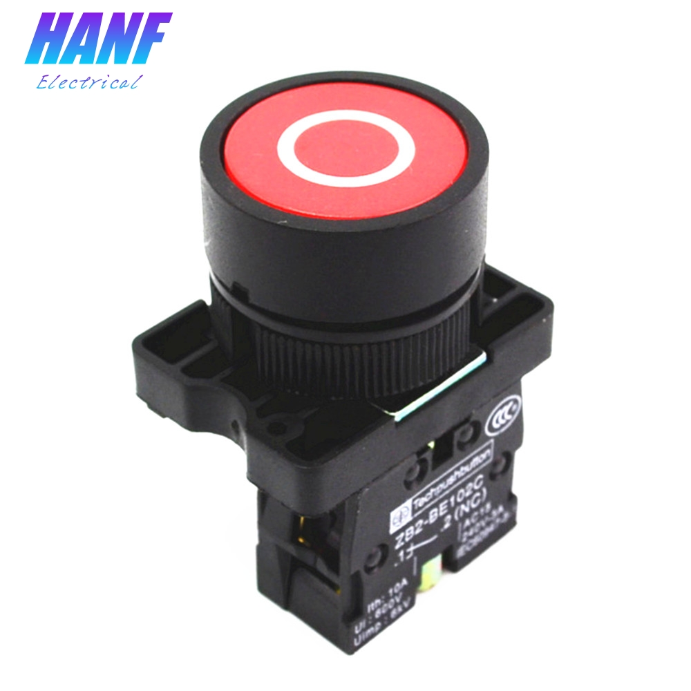 22mm NC N/C Red Sign Momentary Push Button Switch 600V 10A ZB2-EA4322 Circular mark