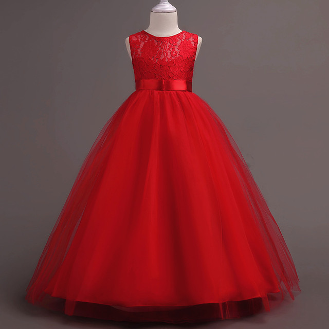 Fancy Ball Gown Children Clothes Kid Dresses For Party And Elegant Birthday 3 4 5 6 7 To 14 Years Old Dress Red Child