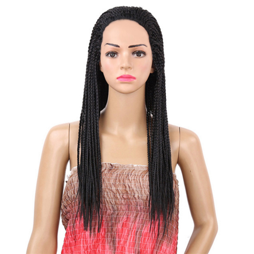 New Wig women Wig 28 Inches Synthetic Crochet Small Senegalese Twist Crochet Braids Hair 0926 ultrashort straight inclined bang synthetic wig