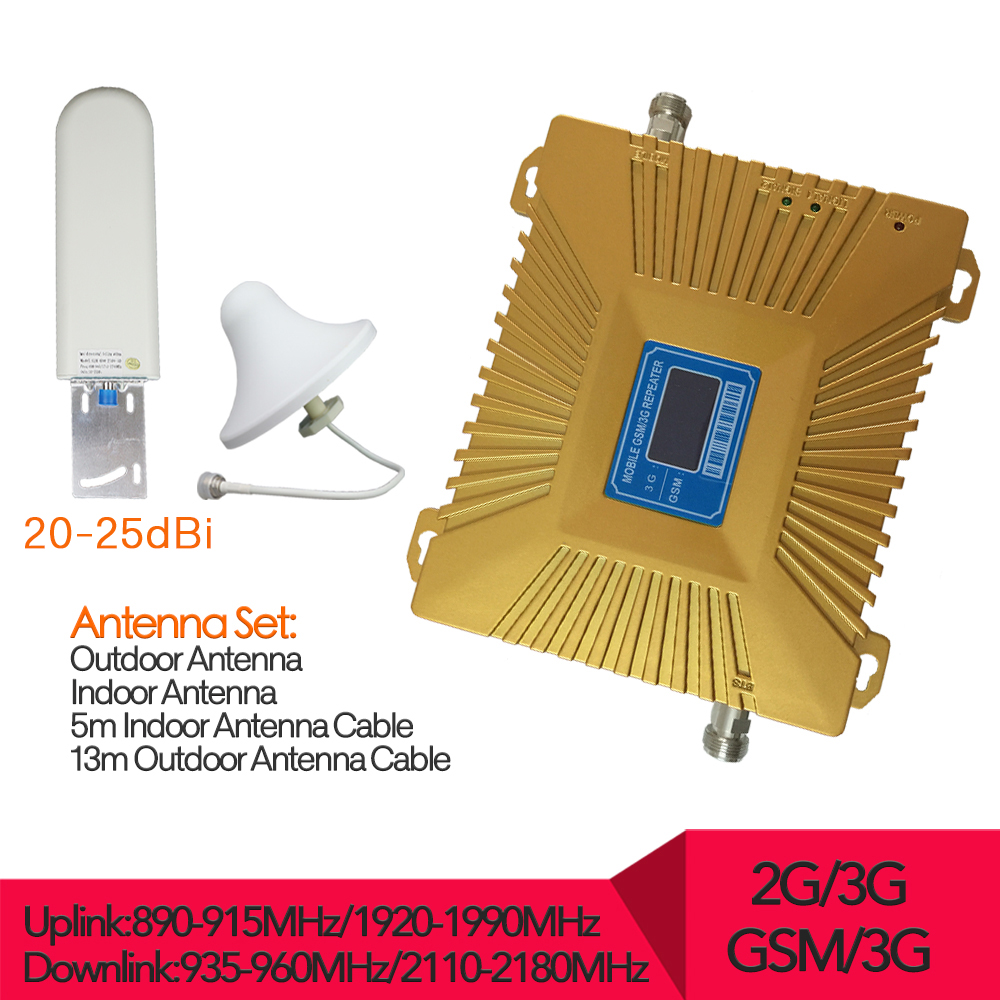 LCD Display GSM 3G Repeater 900MHz UMTS 2100MHz Cell Phone Dual Band Booster GSM WCDMA Signal Repeaters 3G amplifier full set