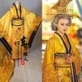 Amarillo de Oro Magnífico Bordado Femenino Emperador Dragón Traje Hanfu Traje para TV Juego Legend of Tang Emperatriz Wu Meiniang