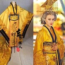 الأصفر الذهبي رائع التطريز الإناث الإمبراطور التنين رداء زي Hanfu للعب التلفزيون أسطورة تانغ الإمبراطورة وو Meiniang