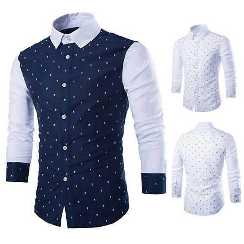 Pria Fashion Kasual Skull Cetak Panjang Lengan Slim Fit Tombol Dress Shirt Top 09WG