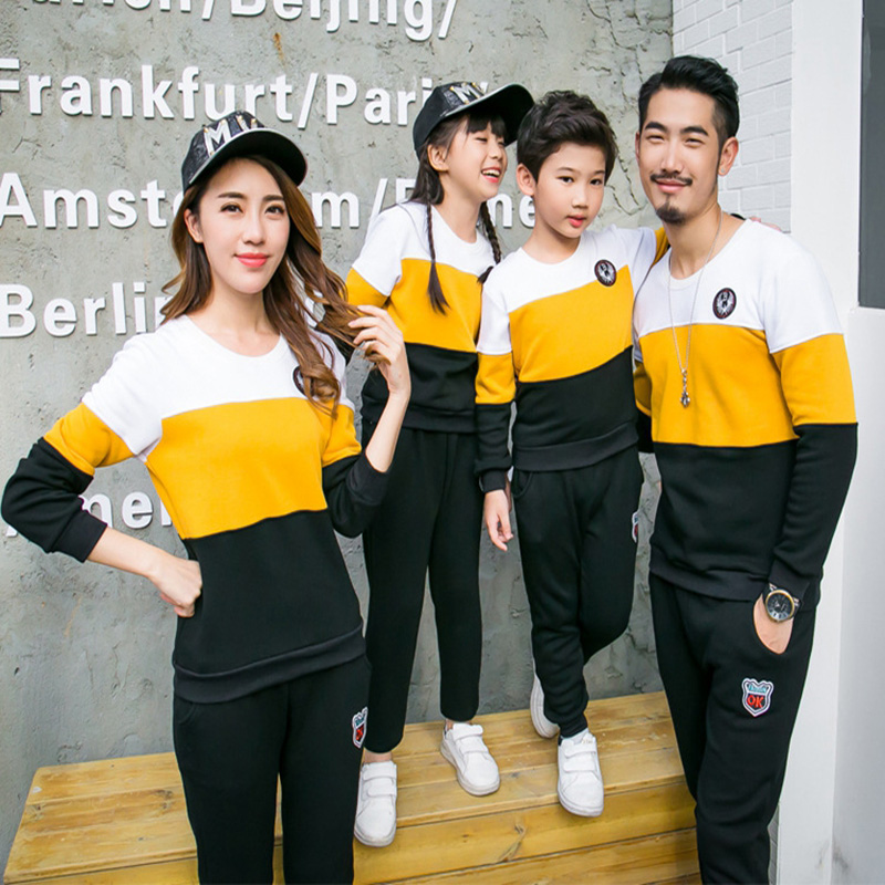 Family Matching Outfits Autumn New T shirt Round Neck Long Sleeve Family Sweatshirt And Trousers Suit Sports Family Clothing Set