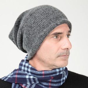 Image 5 - GZhilovingL Winter Famous Warm Wool Genuine Cap Casual Skullies Knitted Hats Black Rabbit Lana Knitted Hats Mens wool thick Hat