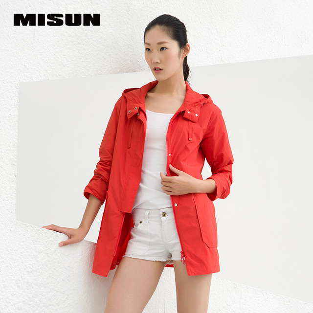 Misun 2016 para mujer primavera chaquetas abrigo recto breve capucha bomber jacket medio largo bolsillo de poliéster ancho de cintura casaca mujer