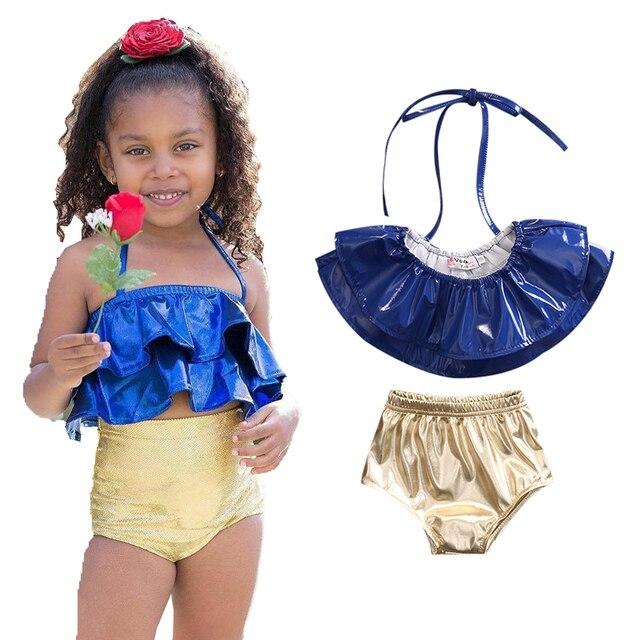 74466cc51b2b45 Małe dziewczynki dwuczęściowy warstwowe strój kąpielowy dla dzieci  dziewczyna lato Halter stroje kąpielowe dla dzieci dzieci