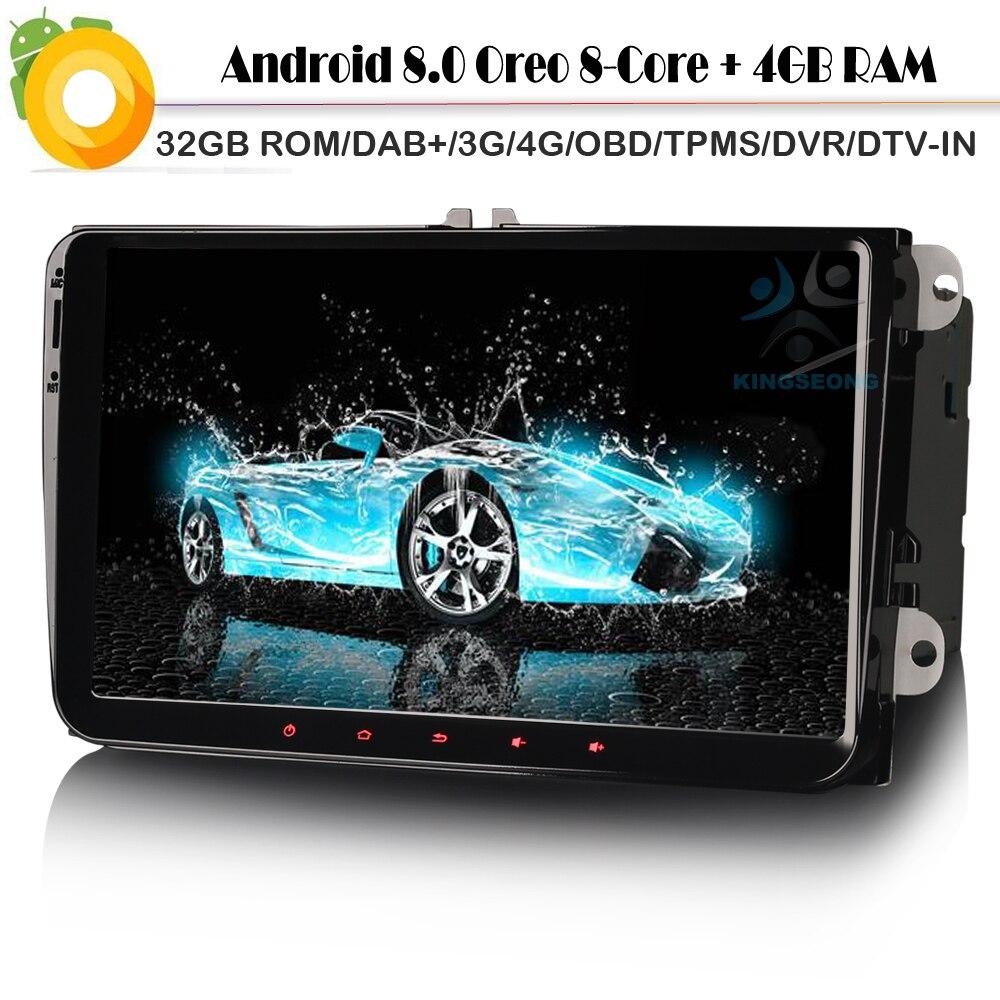 Octa Core Android 8.0 samochodów odtwarzacz nawigacji GPS DAB + nawigacji satelitarnej dla VW polo Golf Passat WiFi 3G 4G BT USB SD DVR OBD DVT-IN