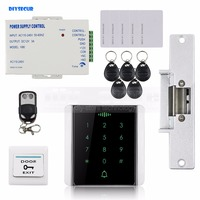 DIYSECUR 125KHz RFID Reader Password Keypad + Electric Strike Lock + Wireless Remote Control Access Control System Security Kit