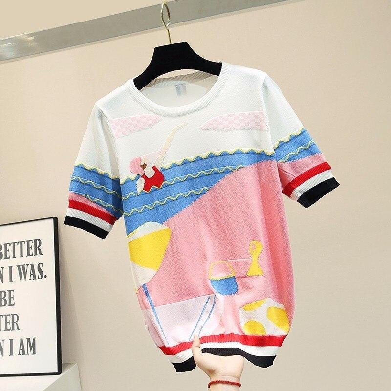 2019 glace soie tricoté t-shirt femmes coréen blanc t-shirt à manches courtes patchwork modis graphique t-shirt élégant lâche haut d'été