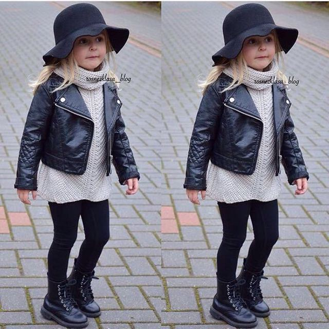 2019 New Fashion Ins Spring and Autumn and the Wind PU Leather Leather Coat Baby Boys and Girls Short Children Jacket
