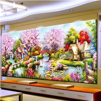 D SH New DIY Diamond Painting Kits Landscapes Garden Lodge 5D Diamonds Embroidery Cross Stitch For