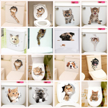 ФОТО cute kitten toilet stickers wall decals 3d hole cat animals mural art home decor refrigerator posters