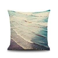 Fashion 3D Modern Ocean Blue Sea Beach Galaxy Starry Sky Linen Cotton Burlap Decorative Pillow Cases