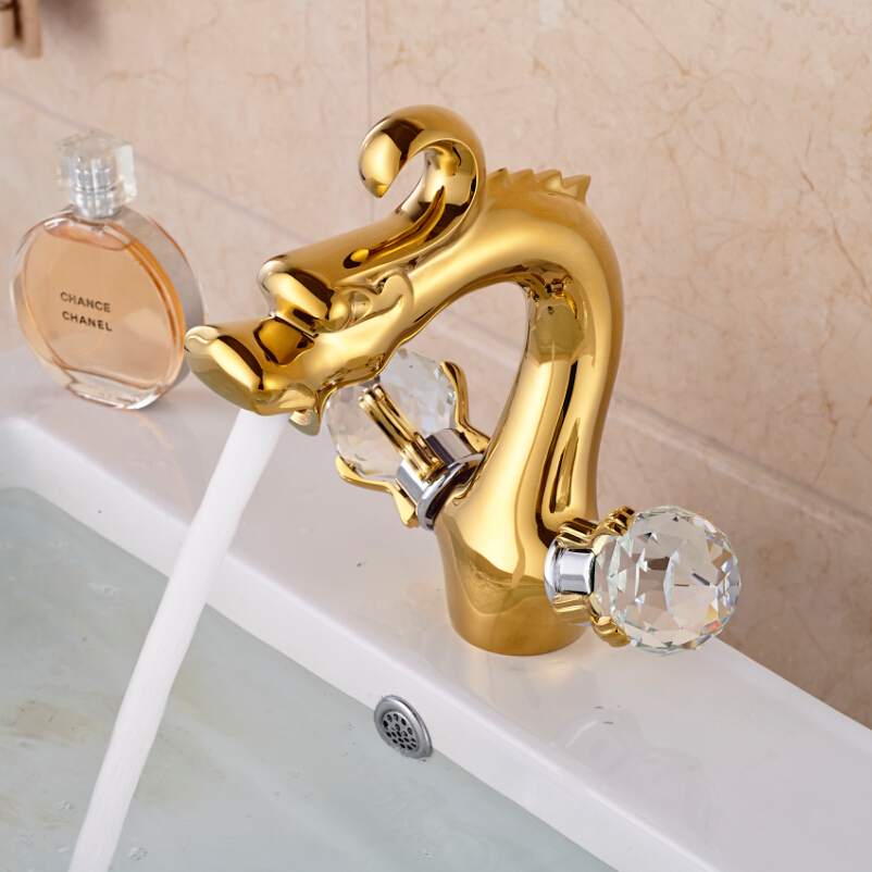 Luxury Dual Cristal Handles Bathroom Basin Vanity Sink Faucet Dragon Shape Mixer Faucet Tap Golden Color
