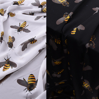 114CM Wide 12MM Bees Print White Black Silk Crepe Fabric for Summer Dress Shirt Cheongsam Skirt Pants Pajamas H216
