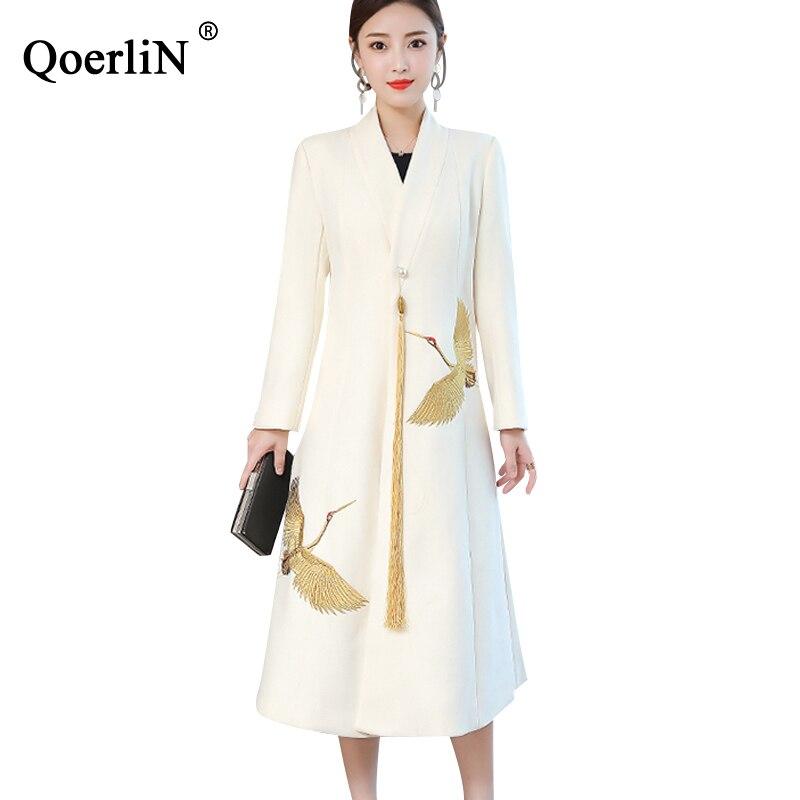 Qoerlin Big Plus Size Winter Woolen Coat Female Long Trench 2019 Loose Embroidered Long Sleeve Woolen Coat Windbreaker Womens