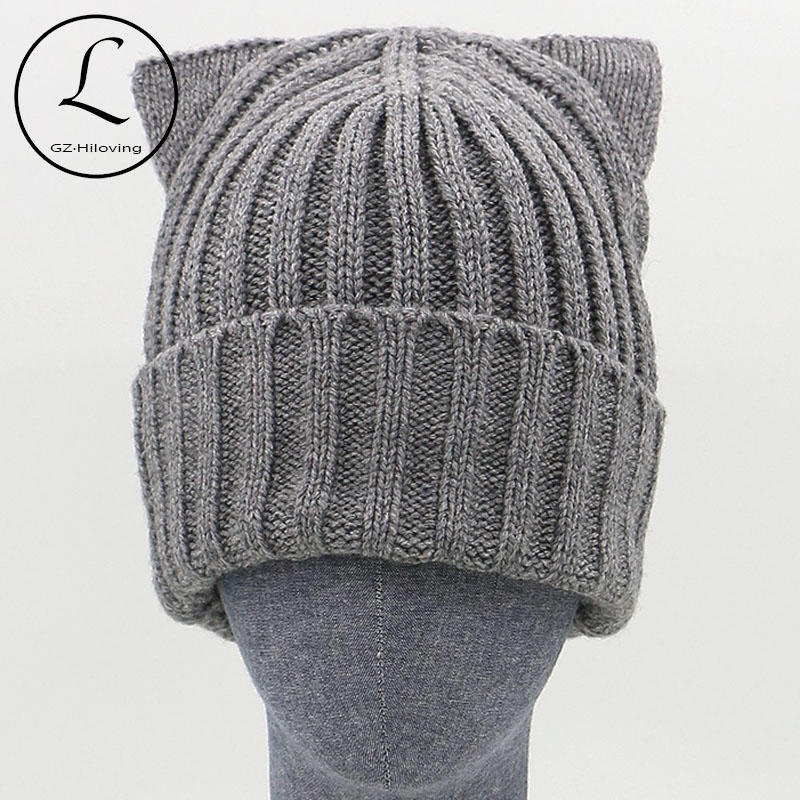 GZHILOVINGL Brand Winter Beanies Strikket hat med ører Kat Warm Woman Girl Hats Uld High Fashion Beanies For Ladies Gorros Cap