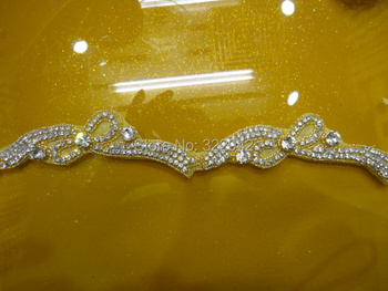 wholesale new arrival sew on rhinestone bridal applique trimming for wedding dress
