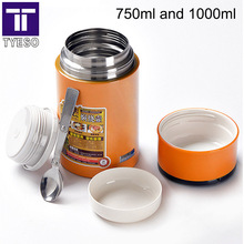 Stainless Steel Thermo Lunch Box soup mug 1L food container thermos portable handle vacuum insulated inox spoon